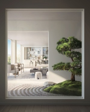 A rendering of the bonsai garden planned for the Mandarin Oriental.