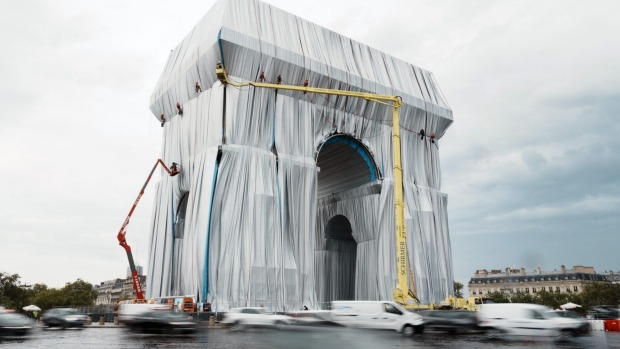 The 'L'Arc de Triomphe, Wrapped' project by late artist Christo and Jeanne-Claude will be on view from September 18 to ...