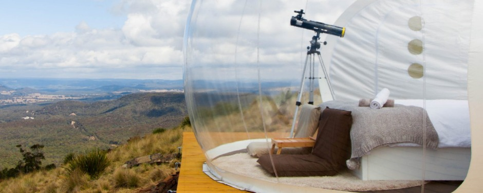 Bubble Tent, Capertee Valley, NSW. These see-through domes allow you to immerse yourself in the lush country between ...