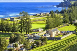 Norfolk Island and one of its original settlements.