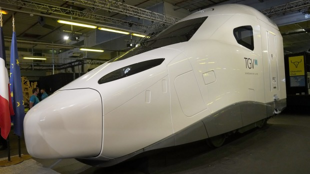 A life-size replica of the new high-speed TGV. The new train will use one fifth less electricity than the current model, ...