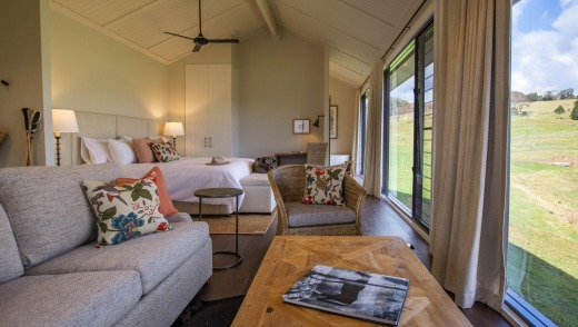 There are three luxury pavilions and 17 king farm cabins with warm natural wood furnishings, open fireplaces and private ...