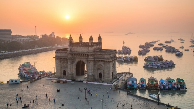Sail from Athens to Mumbai, home to the Gateway of India monument.
