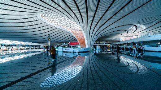 Daxing New International Airport, Beijing, China, is the world's largest airport, servicing 100 million passengers annually.