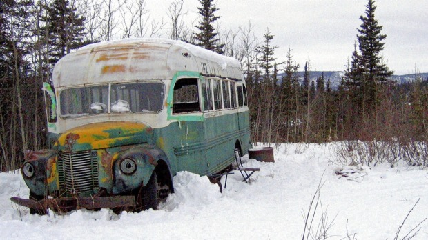 The abandoned bus where Christopher McCandless starved to death in 1992 near Healy, Alaska.