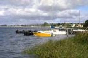 The numerous private moorings at Goolwa