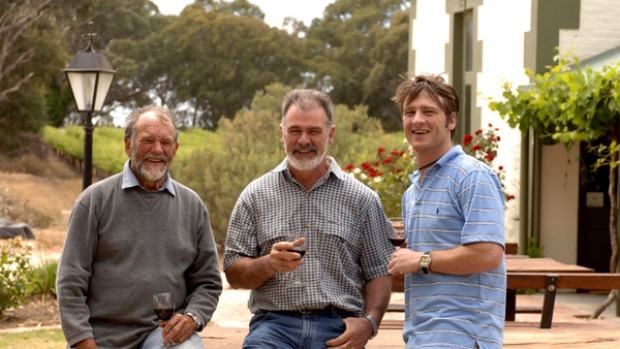 Family affair ... three generations of the Potts family ? (from left) Len, Bill and Ben ? make wines at Bleasdale ...