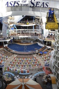 Thousands of workers have worked on the ship's construction for the past two years.