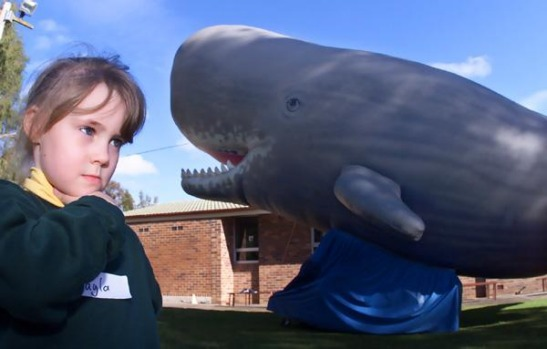 Mikayla Prior with The Big Sperm Whale in Wollongong.