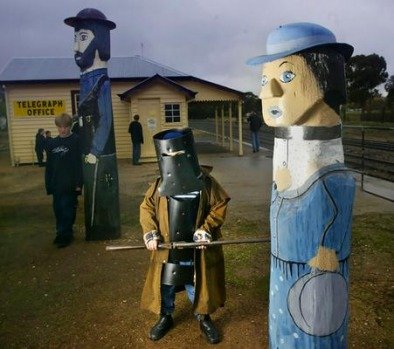 A big Ned Kelly fan at Glenrowan in Victoria.