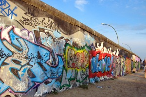 Colourful past ... the East Side Gallery section of the Berlin Wall.