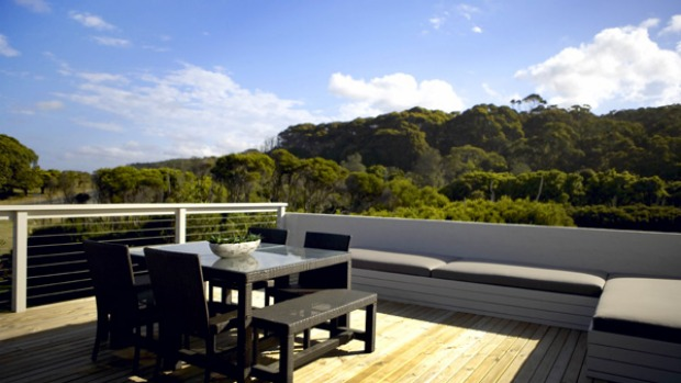 Lap of luxury ... the inviting deck has views across the wetlands.