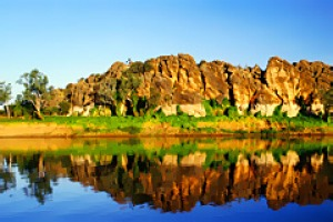 Reflections of ancient times ... Geikie Gorge National Park represents part of a barrier reef that skirted the Kimberley ...