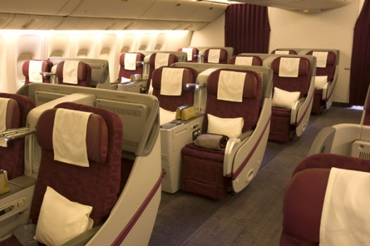 Qatar Airways's business class cabin.