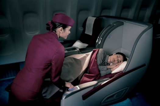 Qatar Airways business class bed.