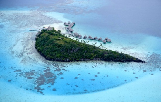 The five-star resorts on tropical Bora Bora are exclusive and expensive, making them popular with celebrities.
