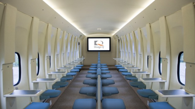 Design Q is spruiking the benefits of what it is calling the MaxCabin, a radical configuration mirroring the face-to-face seating used on military planes.