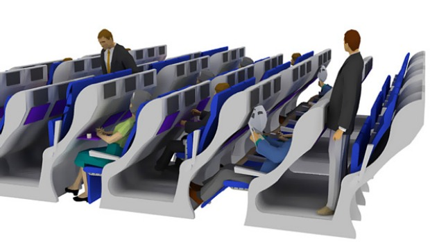 Jacob Innovations design elevates alternate seats in economy by the height of a conventional step. This increases leg space and the angle of seats, two of the most important factors governing passenger comfort.
