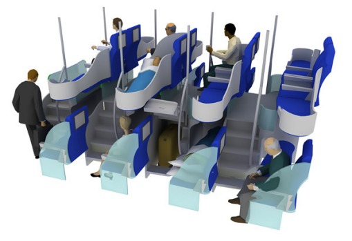 This seating arrangement allows for longer beds (fully horizontal) at approximately the same density as conventional ...