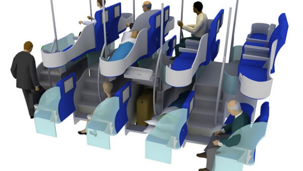 This seating arrangement allows for longer beds (fully horizontal) at approximately the same density as conventional (non fully-reclining) business class.