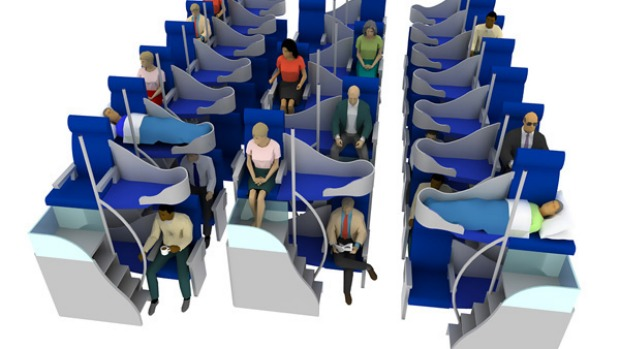 Jacob's business-class model, which creates a second storey of seats, has the potential to double the capacity of conventional business-class design and afford more privacy.