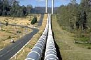 The hydro electricity schemes pipes leading down to Tarraleah Power Station
