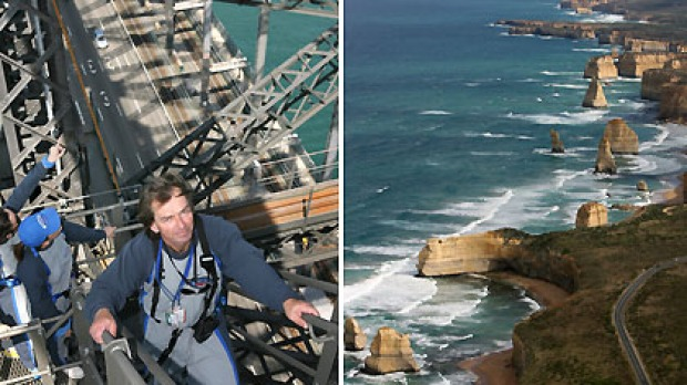 Holiday at home ... in Sydney, try the BridgeClimb (L) or explore Victoria's Great Ocean Road from Melbourne.