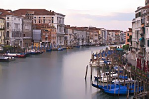 Winter chill-out ... the Grand Canal seen from the Rialto Bridge.