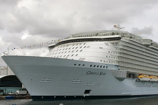 Oasis of the Seas, the world's largest and newest cruise ship, is shown at its home port in Port Everglades in Fort ...