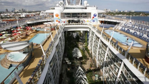 The world's largest and newest cruise ship, the Oasis of the Seas, will set sail on its maiden voyage in the Caribbean on December 1. The Finnish built 225,282-tonne ship owned by Royal Caribbean International has a capacity of 5400 passengers and has 15 decks that house four main swimming pools, a park promenade, surf simulators, rock climbing, and miniature golf.