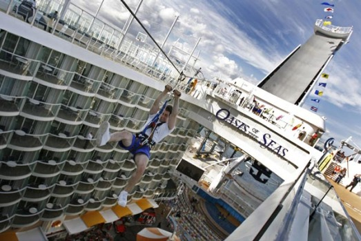 A zip-line is one of the sports activities on the world's largest cruise ship, the Oasis of the Seas. It also has four ...