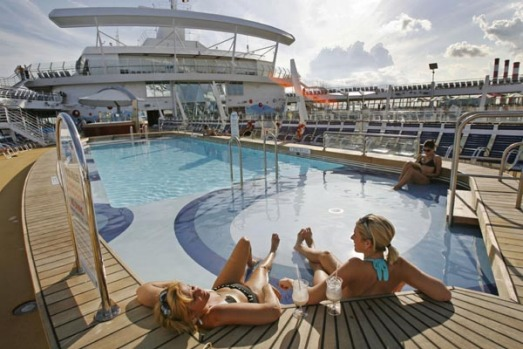 One of the pools on board the world's largest cruise ship, the Oasis of the Seas.