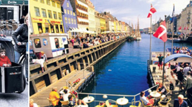 Life cycle ... (from left) about 36 per cent of Copenhagen's population rides daily; the harbourside Nyhavn district.