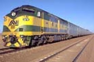 The Indian Pacific crossing the Nullarbor far to the north of Madura