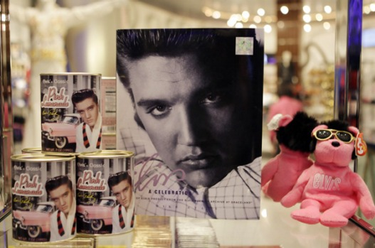 Elvis Presley merchandise is displayed at the official Viva ELVIS store at the Aria hotel-casino in Las Vegas.