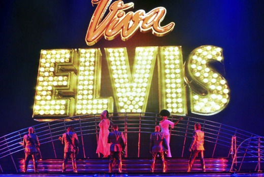"Performers take the stage during a preview of Cirque du Soleil newest show ""Viva Elvis"" the Elvis Theater at Aria Resort ..."