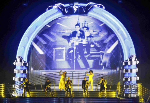 "Performers take the stage during a preview of Cirque du Soleil newest show ""Viva Elvis"" at Aria Resort and Casino."