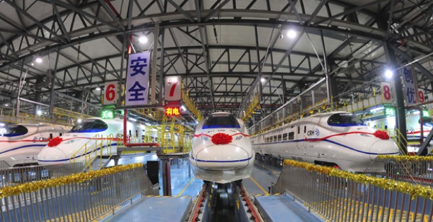 A high-speed train stops at the high-speed railway maintenance base in Wuhan, central China.