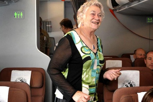 June Preece from Warrnambool aboard the NYE 09 airbus A380, the first time one has flown to Antarctica.