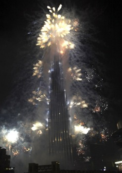 Fireworks explode around the Burj Dubai, the world's tallest tower, during the opening ceremony in Dubai.