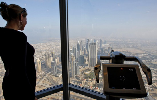 Beyond a bird's eye view ... the observation deck of the Burj Dubai tower.