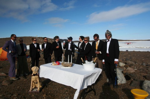 Bunger Hills expedition team suited up for New Year celebrations.