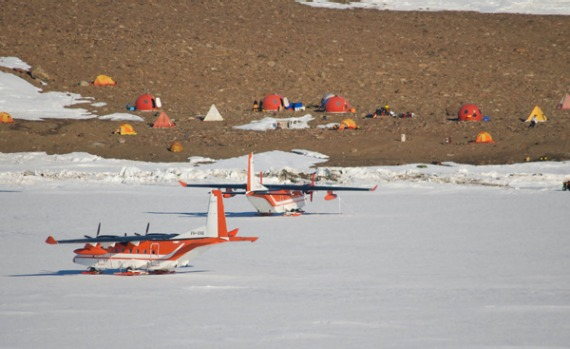 Whale researchers camp off the ice.
