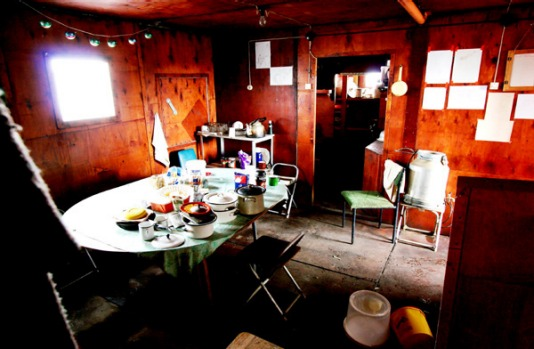 They must have left in a hurrry. Mess hall of the old Polish/Russian Dobrowolski station.