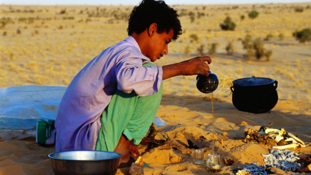 5. SAHARA DESERT. There's no such thing as a quick cuppa in the North African desert. For local nomads, tea drinking requires patience and dedication. Each sitting involves not one but three rounds, each with a distinctive flavor.