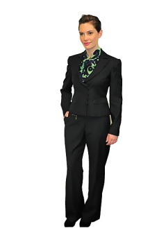 An Air New Zealand ground staff trouser suit.