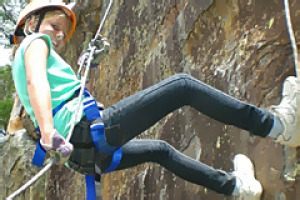 Cliffhanger ... Peats Ridge is a hub for outdoor adventures, such as abseiling.