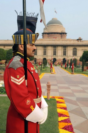 City life ... guards stand in the Mughal Gardens.