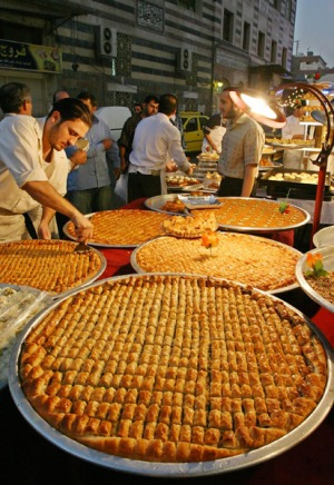 Fine delights ... baked sweets at a market Damascus.