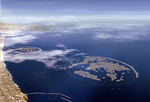 The 300 man-made islands off the coast of Dubai known as 'The World'.